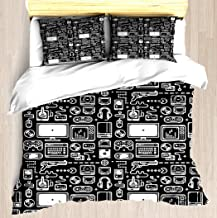 NTCBED Retro Gamer Video Game Consoles, PC's, Controllers, Joysticks and Gamepads - Duvet Cover Set Soft Comforter Cover Unique Printed Design Duvet Covers Blanket Cover Queen/Full Size