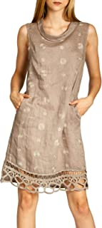 SKL019 Vestido Corto de Verano de Lino para Mujer con Cuello y Puntillos