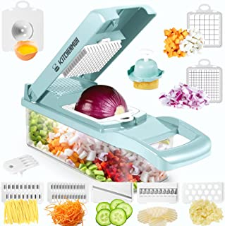 برش ماندولین ، خردکن سبزیجات ، دستگاه برش سبزیجات خردکن و غذاخوری ، خردکن پیاز با ظرف ، برش سبزیجات و خردکن برای آشپزخانه- 7 تیغه