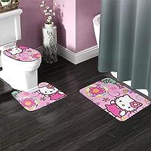 Bath Rug Sets 3 Piece for Bathroom Non Slip Bath Mat Set Hello Kitty Pink Flower Bath Rug Set Contour Mat, Mat and Lid Cover