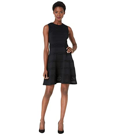 Vince Camuto Sleeveless Mesh Fit-and-Flare Dress (Black) Women