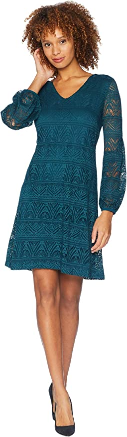V-Neck Dress with Puffy Sleeve