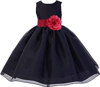 ekidsbridal Black Organza Skirt Satin Bodice Junior Flower Girl Dress Princess 841S
