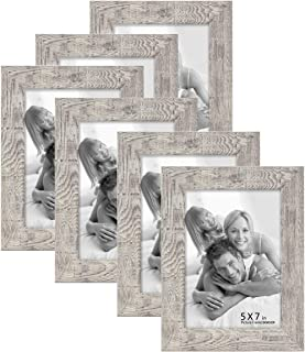 BOICHEN 6 Pack 5x7 Picture Frame Wood Pattern High Definition Glass Rustic Tabletop or Wall,Wave Woodgrain Photo Frames 5x7