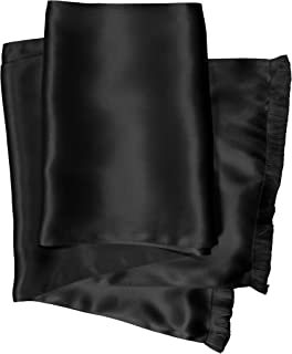 Royal Silk Aviator Scarf – BLACK - Soft, Sleek, Stylish, Genuine 2L Satin Silk