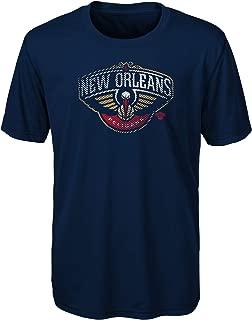 NBA New Orleans Pelicans Kids & Youth Boys Motion Offense Short Sleeve Performance Tee, Medium (5-6), Dark Navy