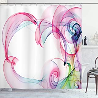 Ambesonne Abstract Home Decor Collection, Colorful Smoke Artwork Contemporary Creative Decorating Futuristic Image, Polyester Fabric Bathroom Shower Curtain, 75 Inches Long, Pink Navy Blue Green