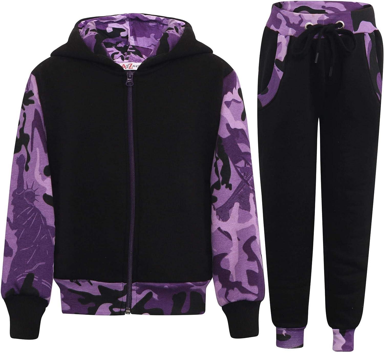 Kids Girls Tracksuit Camo Purple Bott New product!! Jogging Hooded Fleece Suit Fashionable