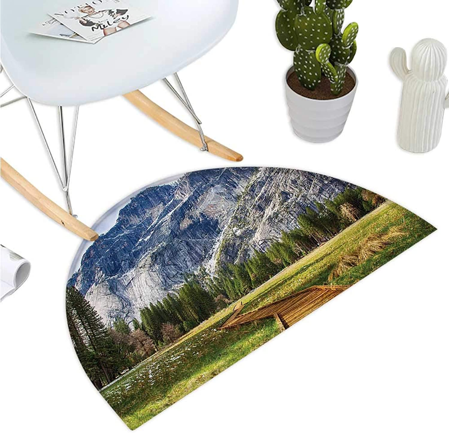 Yosemite Semicircular Cushion North Dome as Seen from The Valley with Wooden Walkway Yosemite National Park Entry Door Mat H 47.2  xD 70.8  Green Charcoal