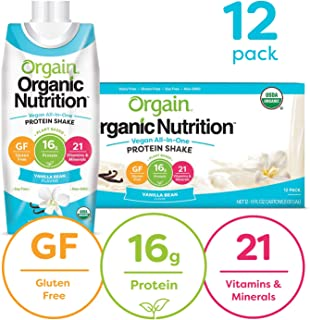 Orgain Organic Vegan Plant Based Nutritional Shake, Vanilla Bean - Meal Replacement, 16g Protein, 21 Vitamins & Minerals, Non Dairy, Gluten Free, Lactose Free, Kosher, Non-GMO, 11 Ounce, 12 Count