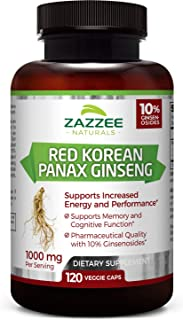 Zazzee Red Korean Panax Ginseng, 10% Ginsenosides, 120 Veggie Caps, Extra Strength, 1000 mg per Serving, Vegan, Non-GMO an...