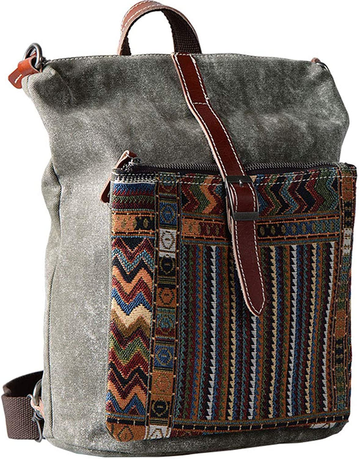 Backpack MultiFunction Ladies Backpack Korean Version of The New Casual Canvas Bag Retro Ethnic Style College Bag