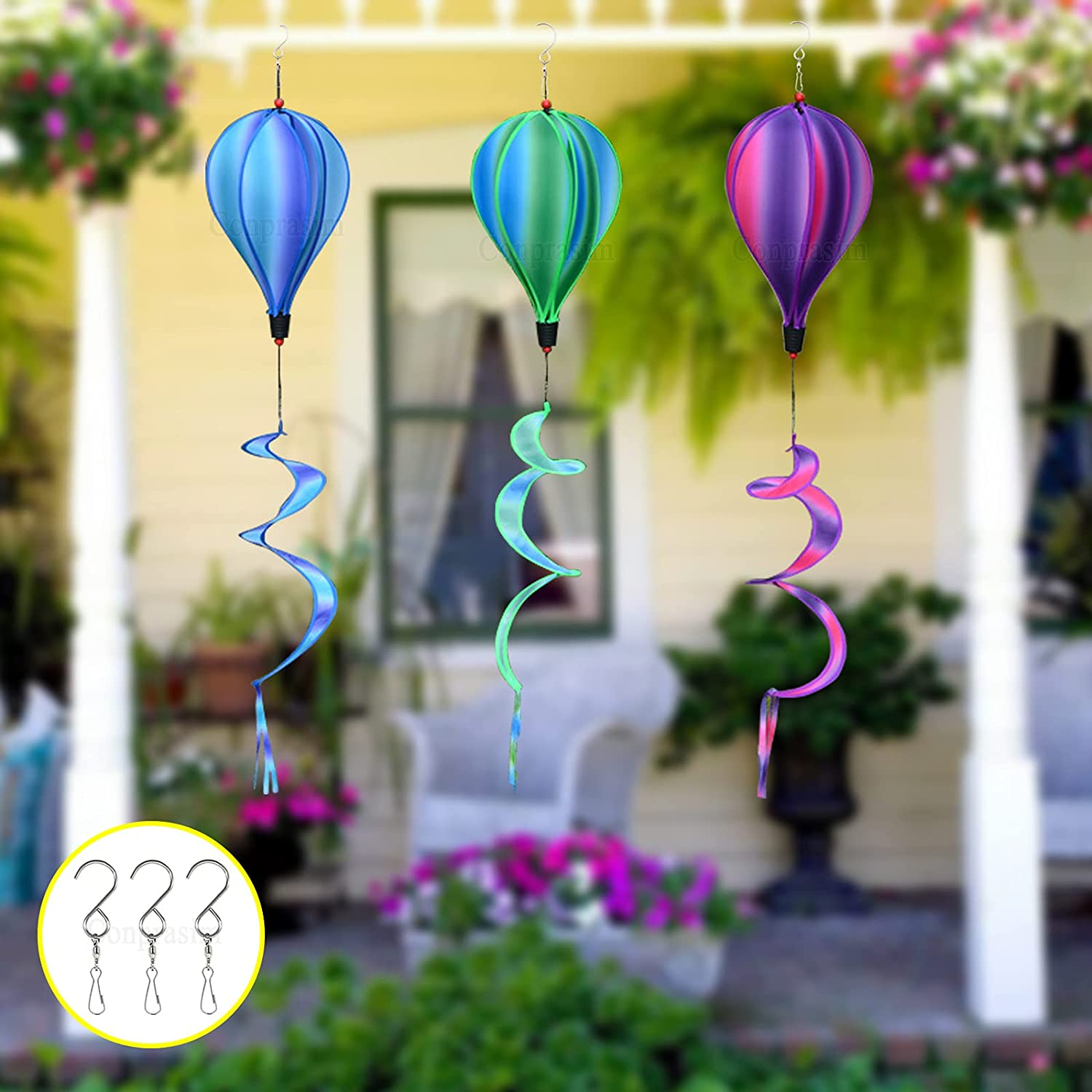 Conprasim Kinetic Hot Air Balloon Wind Spinners Decorations Outdoor Hanging, Colorful Rainbow Yard Decor, Wind Catchers Ornaments, for Park Decoration Garden Ornaments(3 Pack)