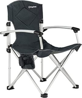 KingCamp Camping Quad Chair Smooth Armrest 1200D Oxford Fabric Aluminum Frame Padded with Cup Holder Storage Pocket Folding Oversized, Carry Bag Included, Supports 264 lbs