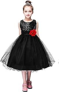 YMING Girls Flower Sequin Princess Dress Sleeveless Tutu Tulle Birthday Party Dress