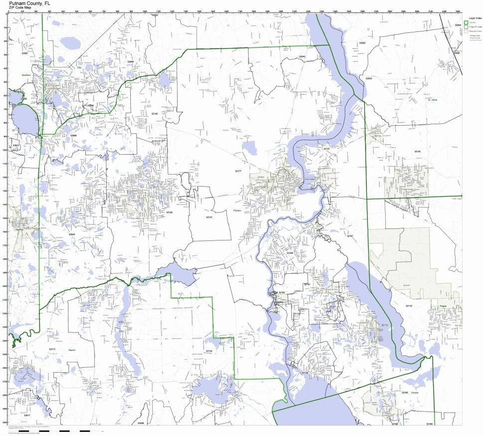 Working Maps outlet Putnam County Florida FL New Shipping Free Code Zip Not Laminate Map