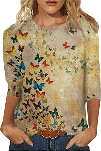 3/4 Sleeves Tops Women's Spring Butterflies Graphic T-Shirt Colorful 3D Print Tunic Blouse Casual Crewneck Tee Shirts
