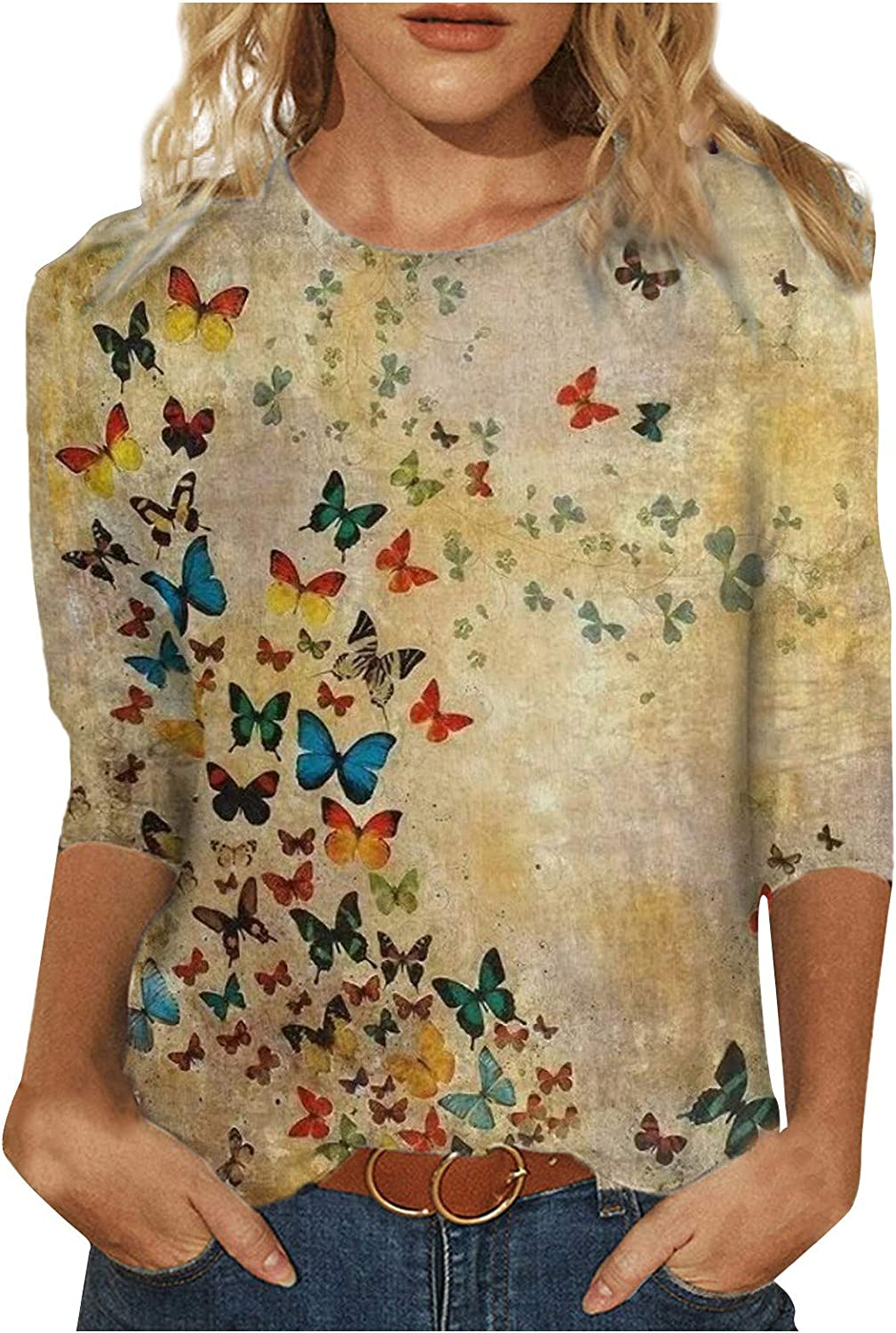 AODONG Tops for Women Casual Summer,3/4 Sleeve Plus Size Shirts Butterfly Graphic Crewneck Tshirts Soft Blouses