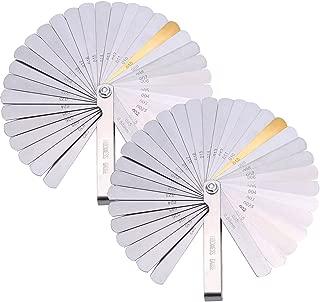 Hotop 2 Pack 32 Blades Steel Feeler Gauge Dual Marked Metric and Imperial Gap Measuring Tool