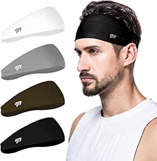 poshei Mens Headband (4 Pack), Mens Sweatband & Sports Headband for Running, Cycling, Yoga, Basketball - Stretchy Moisture...