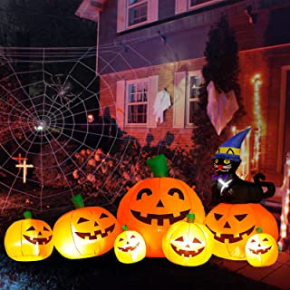 DomKom 8 FT Long Halloween Inflatable Decorations Pumpkin with Black Cat Wizard HAT, Outdoor Holiday Decor Blow Up Hallowe...