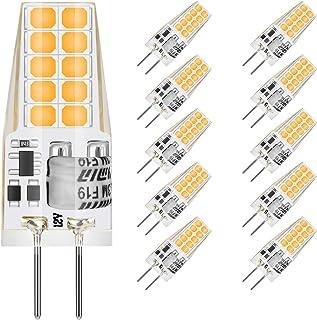 MUSUNIA - Bombillas LED G4, 3 W, G4, 2900 K, blanco cálido, 300 lm, repuesto para bombillas halógenas de 35 W, sin parpadeo, no regulable, 12 V CA/CC, 10 unidades