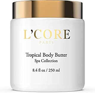 L'Core Paris Tropical Body Butter with Rich Cocoa Seed Extract - Moisturizing & Hydrating Body Cream - Anti-Aging Antioxidants Natural Cellulite & Stretch Mark Control - 8.4 fl oz/250ml