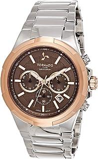 Tornado Men's Brown Dial Stainless Steel Band Watch - T8102-SBSDK