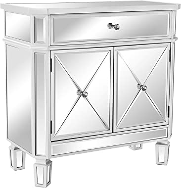 """VINGLI Mirrored Cabinet Mirrored Dresser Accent Chest Large Nightstand with 1 Drawer and Two Doors, 27.5""""W x 13.4""""D x 27.5""""H,"""