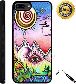 Custom iPhone 7 PLUS Case (Funny Trippy) Edge-to-Edge Rubber Black Cover with Shock and Scratch Protection   Lightweight, Ultra-Slim   Includes Stylus Pen by Innosub