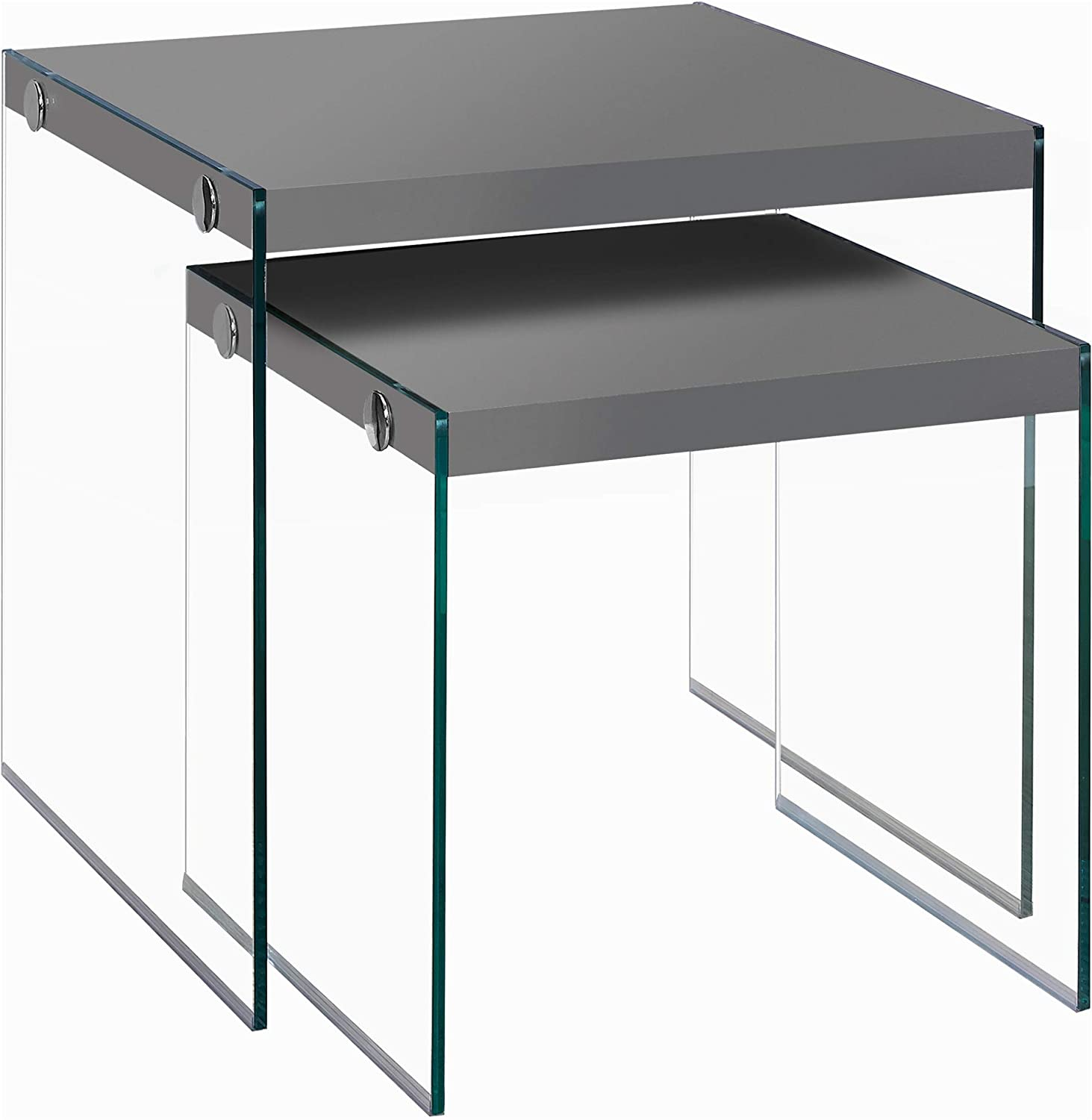 Monarch Specialties I 3293,Nesting Table, Tempered Glass, Glossy Grey