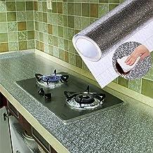 FAINLIST 2 mt. Meters Oil-Proof Aluminum Foil Backslash Wallpaper Stickers Waterproof Kitchen Stove Sticker for Kitchen Wa...