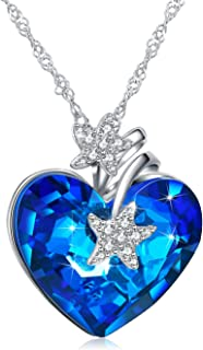 925 Sterling Silver Heart of Ocean Pendant Necklaces for Women Crystals from Swarovski