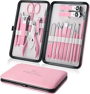 مجموعه مانیکور 18pcs Professional Nail Clippers Kits ابزار پدیکور مراقبت از فولاد ضد زنگ ابزارهای برش با Pink PU مورد چرم برای سفر و خانه (صورتی)