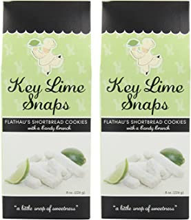 Flathau's Fine Foods Key-Lime Cookie Snaps, 8-Ounce Boxes (Pack of 2) (Key-Lime Snaps, Pack Of 2)