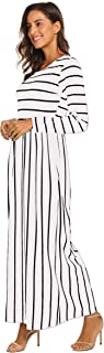 Women's Summer Sleeveless Striped Flowy Casual Long Maxi Dress with Pockets