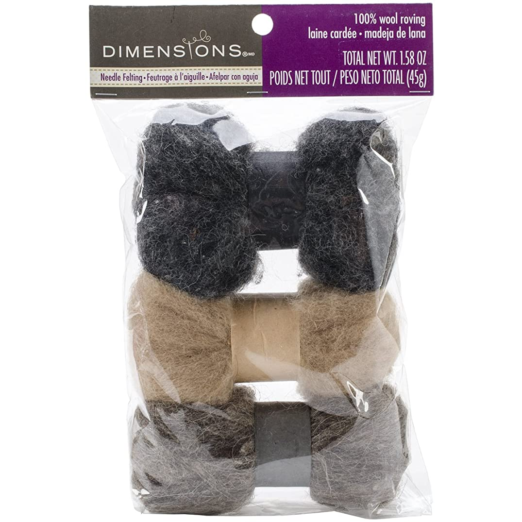 Dimensions Neutral Tan, Grey, Brown Wool Roving for Needle Felting, 3 pack, 45g