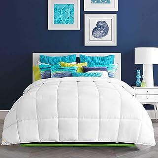 HARBOREST Lightweight Down Alternative Comforter - Plush Microfiber Fill - All-Seson White Comforter Duvet Insert with Cor...