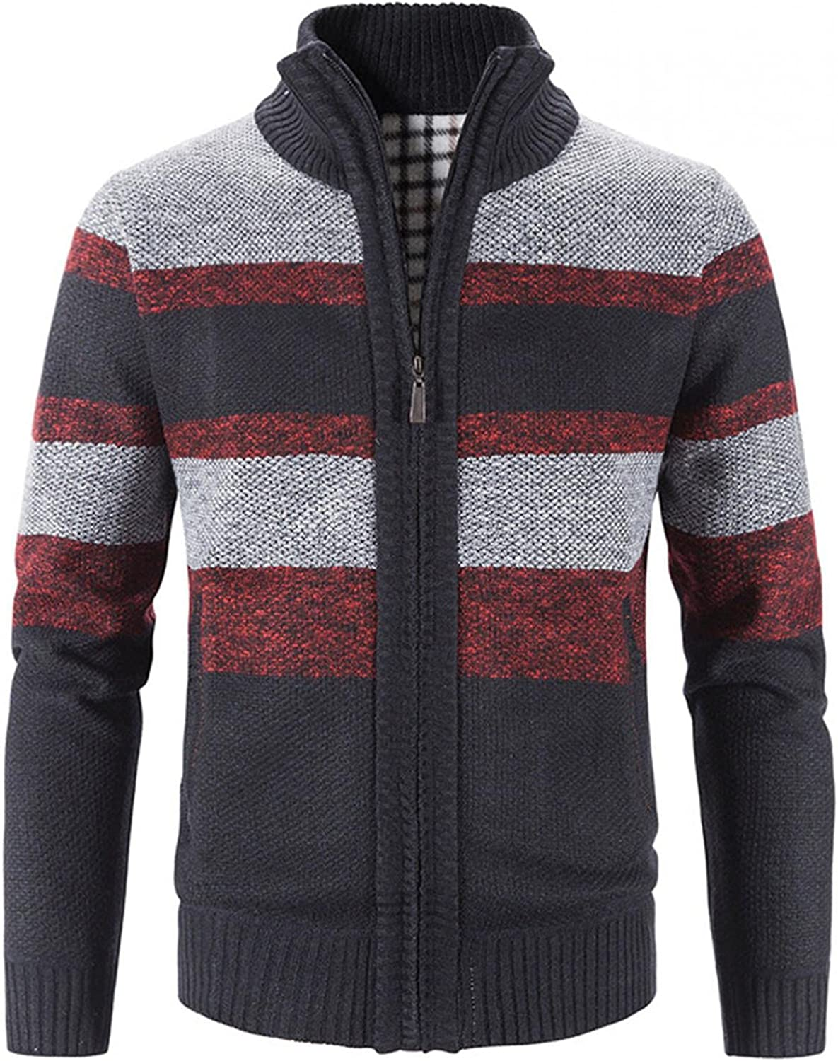 Men's Full Zip Sweaters Patchwork Casual Cardigan Stylish Knitted Long Sleeve Pullover Stand Collar Soft Warm Outwear