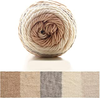 Gbrand 1 Roll Rainbow Cotton Wool Crochet Yarn Multi-Colored Knitting Yarn for Knitting Sofa Cushion (#10 Multi-Colored)