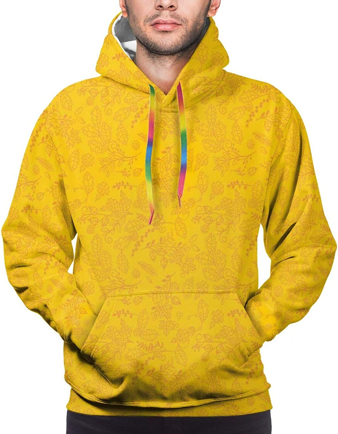 TENJONE Men's Hoodies Sweatshirts,Autumn Branches Border Design with Ashberries and Dried Leaves Graphic