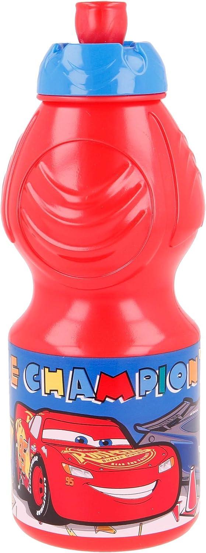 CARS  Botella de Agua Infantil con cierre antifugas   Cantimplora Reutilizable para niños con tapón anti goteo - Libre de BPA - 400 ML