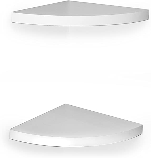 DanyaB White Veneer Corner Shelves Set Of Two Radial Shelf