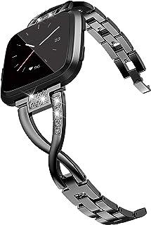 Fitbit Versa/Fitbit Versa2 バンド,Wearlizer fitbit versa対応 フィットビットVersa 交換用ベルト ラインストーン 工具なしで長さ簡単調整