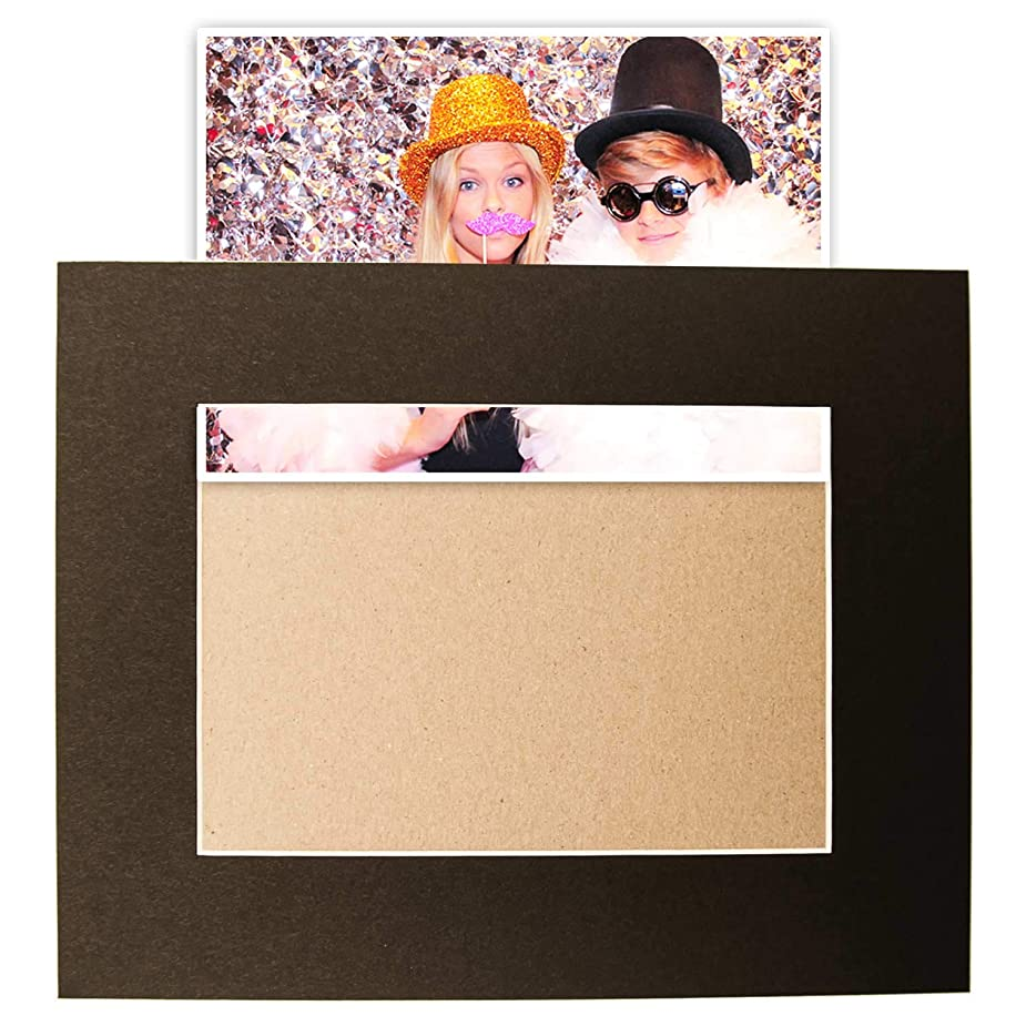 "Pack of 10 pre-glued Slip-in Black 8x10 Picture Matte for 5x7"" Photo with Backing Board by Verita Vision. Includes 10 Bevel Cut Slip-in Mats + Backing Board (Pre-Assembled)"