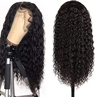 Lace Front Wigs for Black Women 100% Human Hair Water Wave 360 Lace Frontal Wigs with Baby Hair Pre Plucked Natural Hair Line 150% Density Natural Black