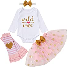 Baby Girl 1st Birthday Outfit Wild One Romper+Tutu Skirt+Leg Warm with Headband Cake Smash Clothes Set