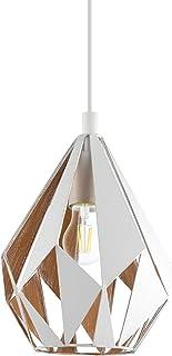 EGLO CARLTON 1 Suspension luminaire Suspension 1 ampoule, Blanc, d'or, Ø 20,6cm
