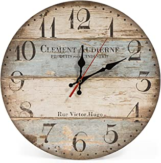 LOHAS Home 12 Inch Silent Vintage Wooden Round Wall Clock Arabic Numerals Vintage Rustic..
