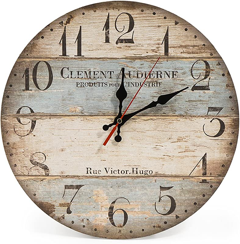 LOHAS Home 12 Inch Silent Vintage Wooden Round Wall Clock Arabic Numerals Vintage Rustic Chic Style Wooden Round Home Decor Wall Clock Victor Hugo
